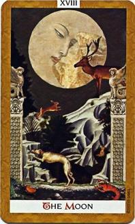 The Moon from Kat Black's Golden Tarot Deck